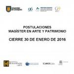 Imagen CIERRE POSTULACIONES MAGÍSTER EN ARTE Y PATROMONIO 2016