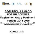 Imagen ABIERTO SEGUNDO LLAMADO A POSTULACIONES PROGRAMA MAGÍSTER EN ARTE Y PATRIMONIO PERIODO 2018 – 2019
