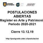Imagen POSTULACIONES ABIERTAS: MAGÍSTER EN ARTE Y PATRIMONIO PERIODO 2020-2021